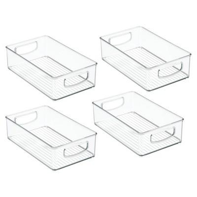 mDesign Plastic Kitchen Food Storage Organizer Bin - 4 Pack, Clear
