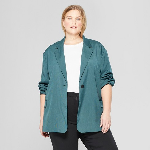 Women's Plus Size Long Sleeve Oversized Slouchy Blazer - Prologue™ Green 2X - image 1 of 3