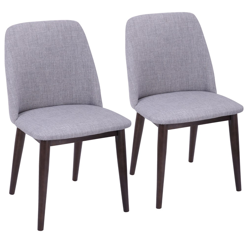 Set of 2 Tintori Contemporary Dining Chairs Light Gray/Walnut (Gray/Brown) - LumiSource