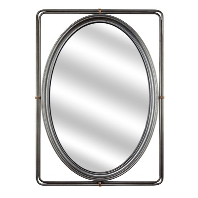 "25"" Oval Metal Vanity Wall Mirror in Rectangle Frame Antiqued Silver - American Art Decor"