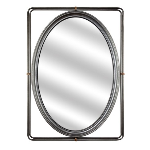 Oval Mirror in Rectangle Frame Gray - E2 Concepts - image 1 of 4