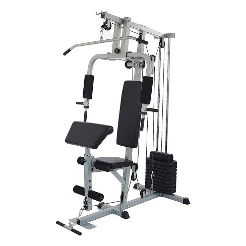 Sporzon! Home Gym Exercise Equipment Bench Workout Station With 330 Pound  Resistance, 125 Pound Weight Stack, Detachable Bars, & 4 Roll Leg Developer  : Target