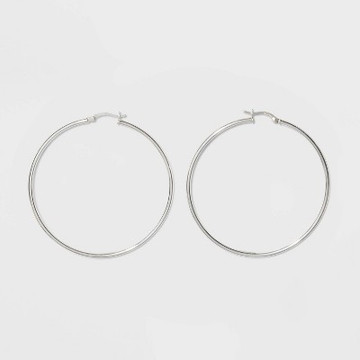 Round Hoop Sterling Silver Earrings - A New Day™ Silver