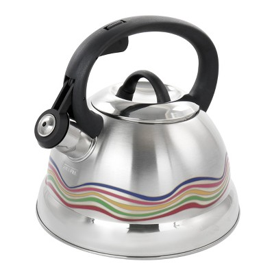 Mr. Coffee Cagliari 1.75 Quart Stainless Steel Whistling Tea Kettle with Color Changing Exterior
