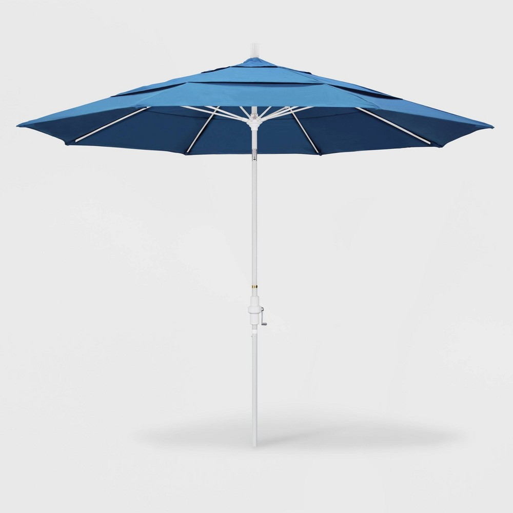 Image of 11' Sun Master Patio Umbrella Collar Tilt Crank Lift - Pacifica Capri - California Umbrella