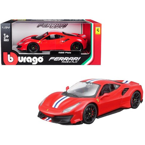 Ferrari 488 Pista Red With White And Blue Stripes 1 24 Diecast Model Car By Bburago Target