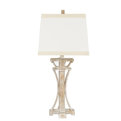 """29"""" Meredith Weathered Finish Silverwood Table Lamp (Includes CFL Light Bulb) White - Decor Therapy"""