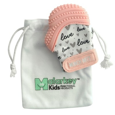 Malarkey Kids Munch Mitt Teether with Wash Travel Bag - Pink