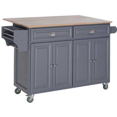 HOMCOM Rolling Kitchen Island on Wheels Ultility Cart with Drop-Leaf and Rubber Wood Countertop Storage Drawer Door Cabinet Grey