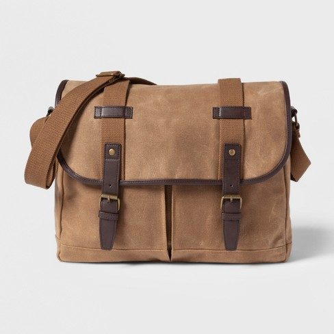Men's Canvas Messenger Bag - Goodfellow & Co™ Brown - image 1 of 2