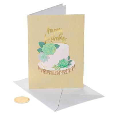 Succulent Cake Print Birthday Card - PAPYRUS