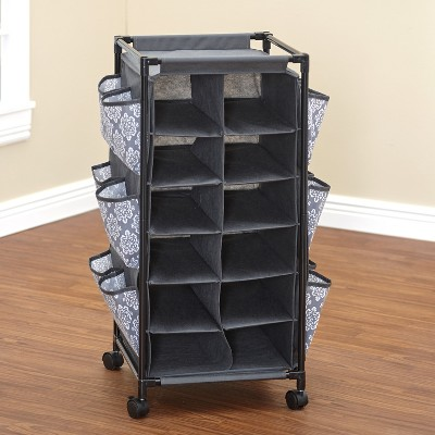 Lakeside Fashionable Rolling Shoe Storage Unit with Fabric Cubbies