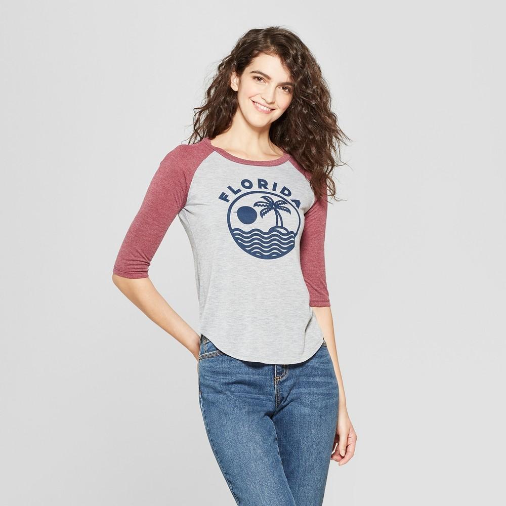 Women's 3/4 Sleeve Florida Raglan Graphic T-Shirt - Awake (Juniors') Heather Gray/Burgundy XL
