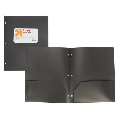 2 Pocket Plastic Folder Black - up & up™