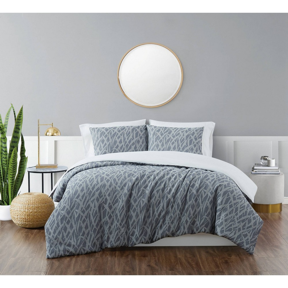 King 3pc Honey Waffle Comforter Set Blue Brooklyn Loom