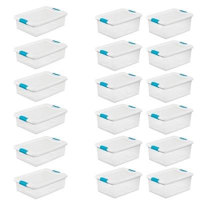 32-qt Stackable Storage Box (6 Pack) w/ 15-qt Stackable Storage Box (12 Pack)