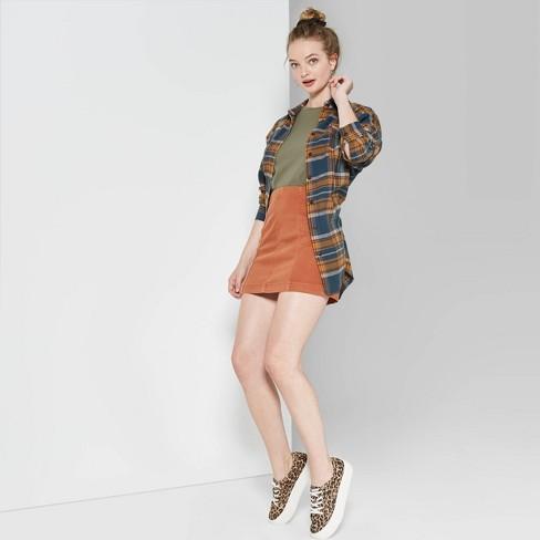 Women's Seamed Denim Mini Skirt - Wild Fable™ Bronze - image 1 of 3