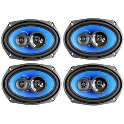 "4) Q Power 6x9"" 700 Watt 3-Way Car Audio Stereo Coaxial Speakers Four | QP693"