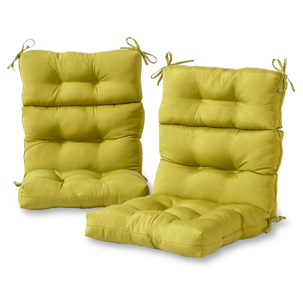 Set of 2 Solid Outdoor High Back Chair Cushions - Kiwi - Kensington Garden