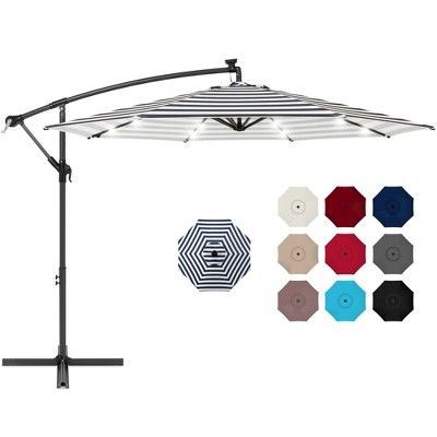 Best Choice Products 10ft Solar LED Offset Hanging Outdoor Market Patio Umbrella w/ Easy Tilt Adjustment