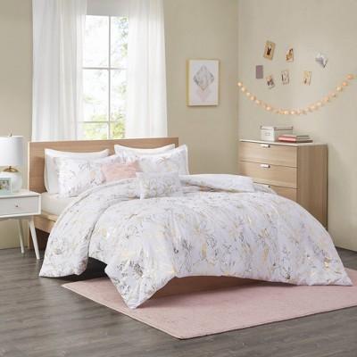 Megan Metallic Printed Floral Comforter Set