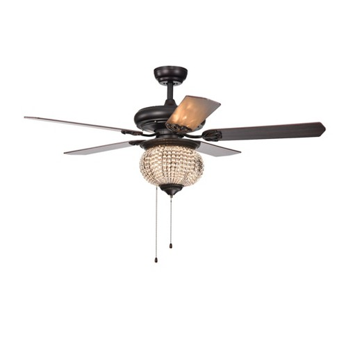 "Priteen 3 Light Crystal Bead 5 Blade Brown 52"" Lighted Ceiling Fan - Warehouse of Tiffany - image 1 of 5"
