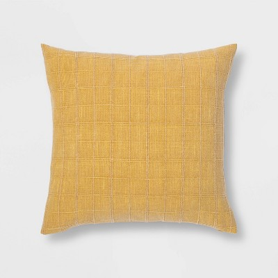 Oversized Woven Washed Windowpane Square Pillow Yellow - Threshold™
