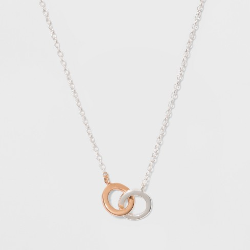 Sterling Silver Double Open Round Necklace - Silver/Gold - image 1 of 2