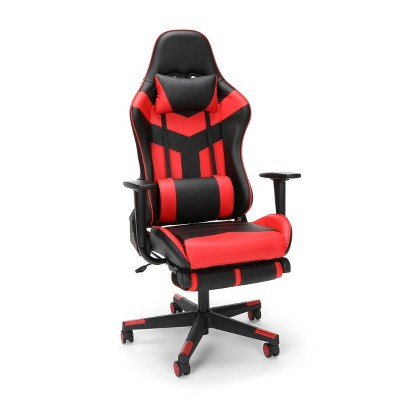 High Back Leather Gaming Chair with Extendable Footrest - OFM