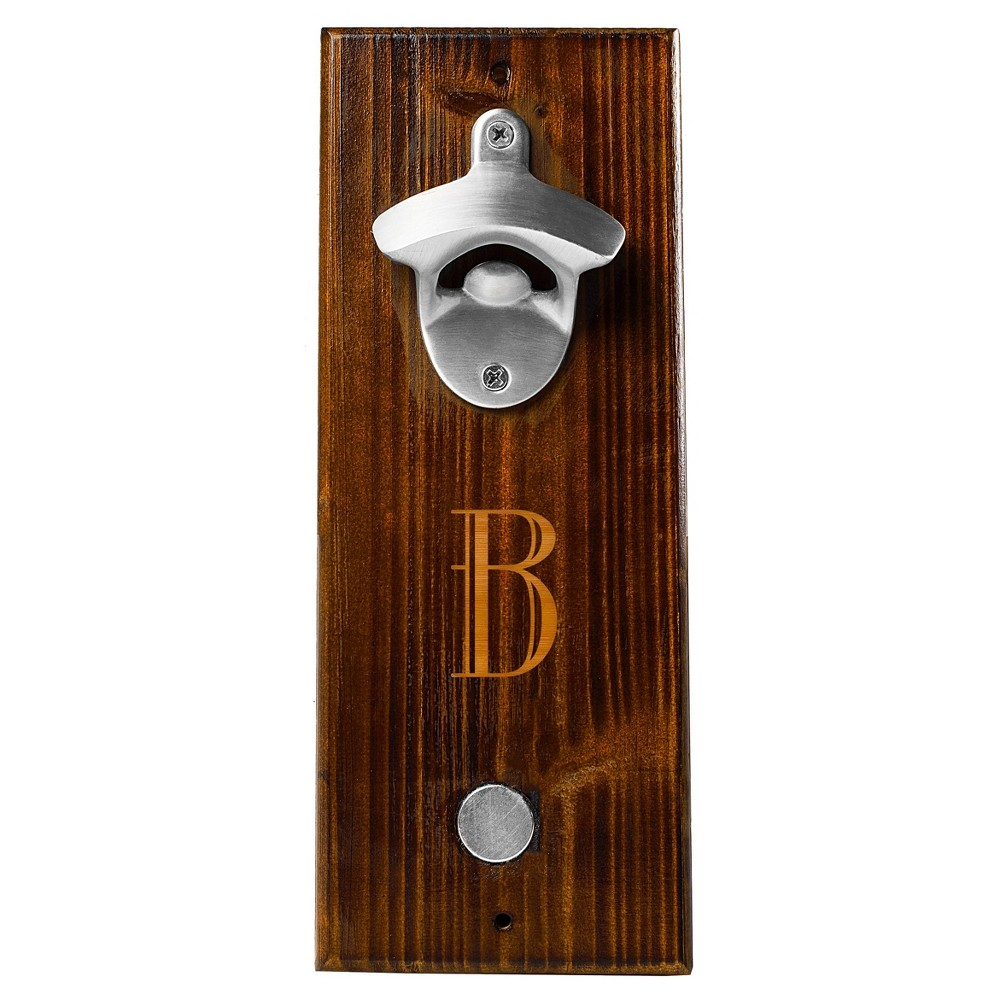 Monogram Groomsmen Gift Rustic Wall Mount Bottle Opener With Magnetic Cap Catcher - B, Brown