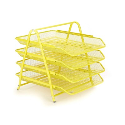 Mind Reader Desk Organizer with 4 Sliding Trays Yellow