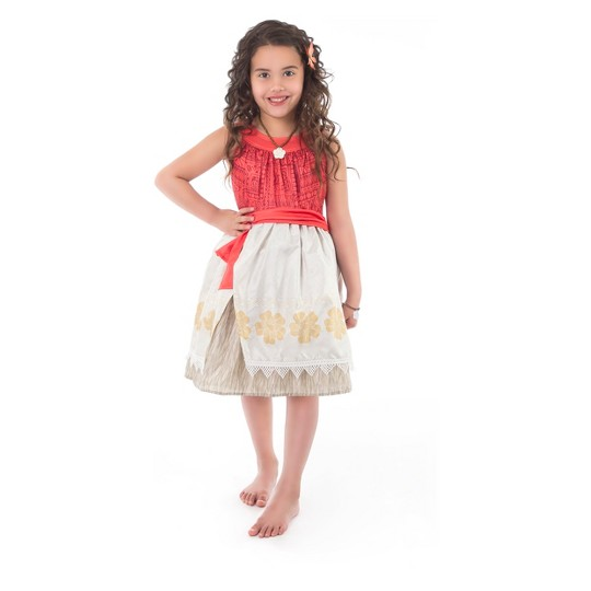 Little Adventures Girls' Polynesian Princess Dress with Hair Clip - M, Size: Medium image number null
