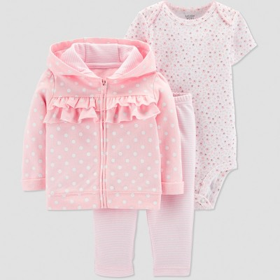 Baby Girls' 3pc Dot Ruffle Short Sleeve Cotton Cardigan Set - Just One You® made by carter's Pink 6M