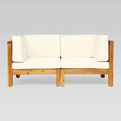 Oana 2pc Acacia Wood Modular Loveseat - Christopher Knight Home
