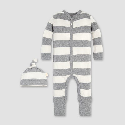 Burt's Bees Baby® Organic Cotton Rugby Stripe Convertible Cuff Coverall & Hat Set - Heather Grey 0-3M