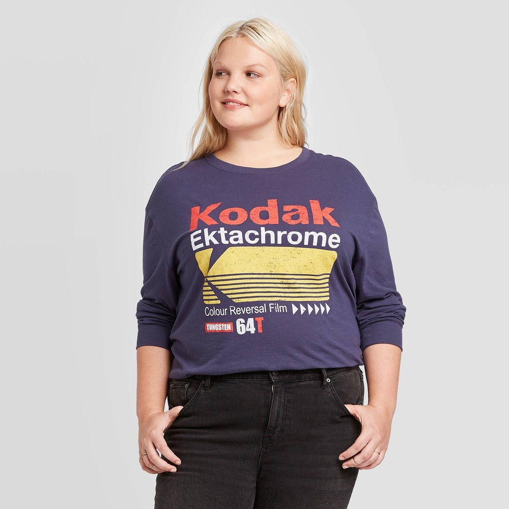 Image of Women's Kodak Plus Size Long Sleeve T-Shirt (Juniors') - Blue 1X, Women's, Size: 1XL