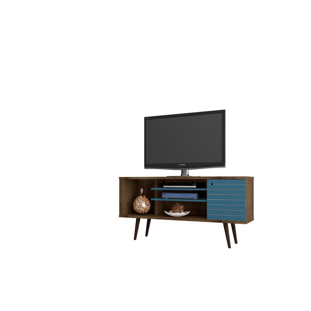 53.14 Liberty Mid Century Modern TV Stand Rustic Brown/Aqua Blue - Manhattan Comfort