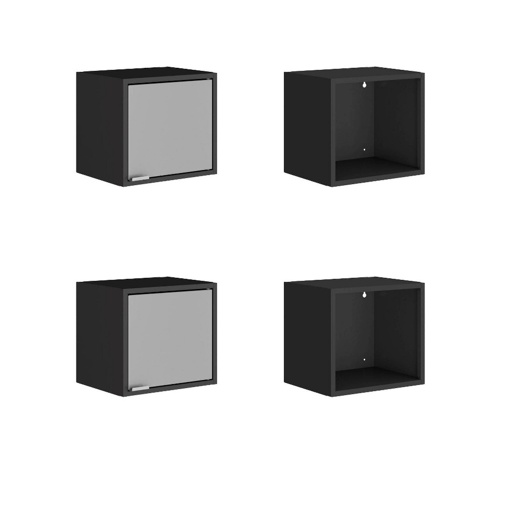 13.77 Set of 4 Smart Floating Cabinet and Display Shelf Black/Gray - Manhattan Comfort