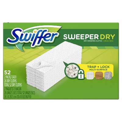 Swiffer Sweeper Dry Sweeping Pad Multi Surface Refills for Dusters Floor Mop - 52ct