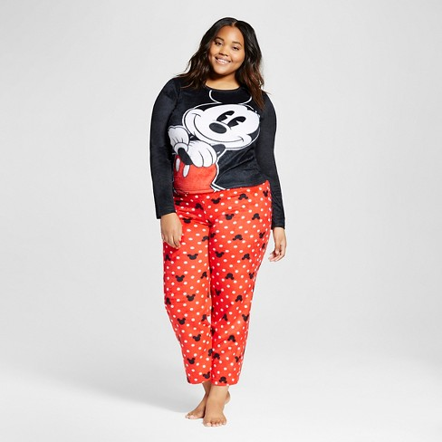 Disney® Women's Plus Mickey Mouse Big Face Pajama Set - Black - image 1 of 2