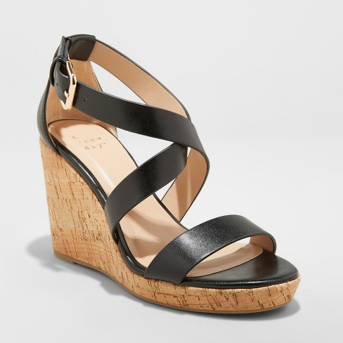 b0806eca482 Women s Cecilia Strappy Cork Wedge Ankle Strap Sandal - A New Day™ Black  9.5   Target