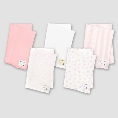 Burt's Bees Baby® Organic Cotton 5pk Solid/Print Burp Cloth Set - Blossom
