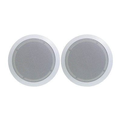 """Pyle PDIC81RD 8"""" 500W Round Flush Mount In-Wall/Ceiling Home Speakers, Pair"""