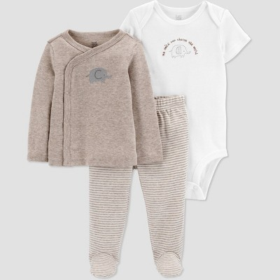 Baby 3pc Top and Bottom Set with Cardigan - Just One You® made by carter's Gray Preemie