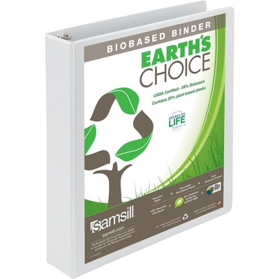 Samsill Earth's Choice Eco-Friendly Binder, 1-1/2 Inch D-Rings, White