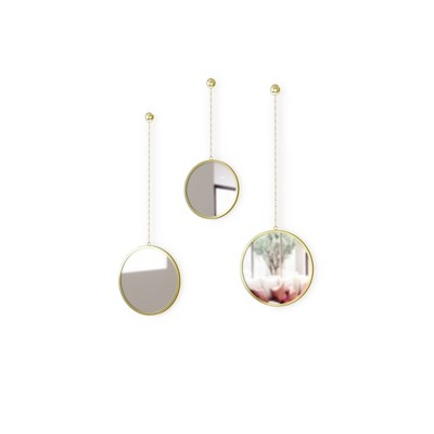 Set of 3 Dima Round Decorative Wall Mirrors Brass - Umbra