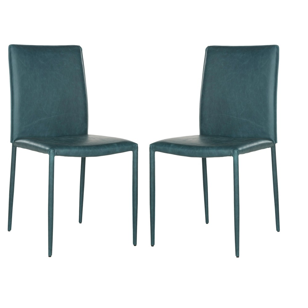 Karna Dining Chair - Antique Teal (Blue) (Set of 2) - Safavieh
