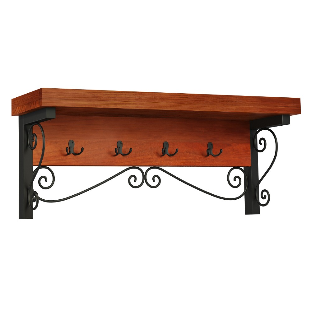 Image of 14 Wall Mounted Coat Rack Brown - Alaterre Furniture