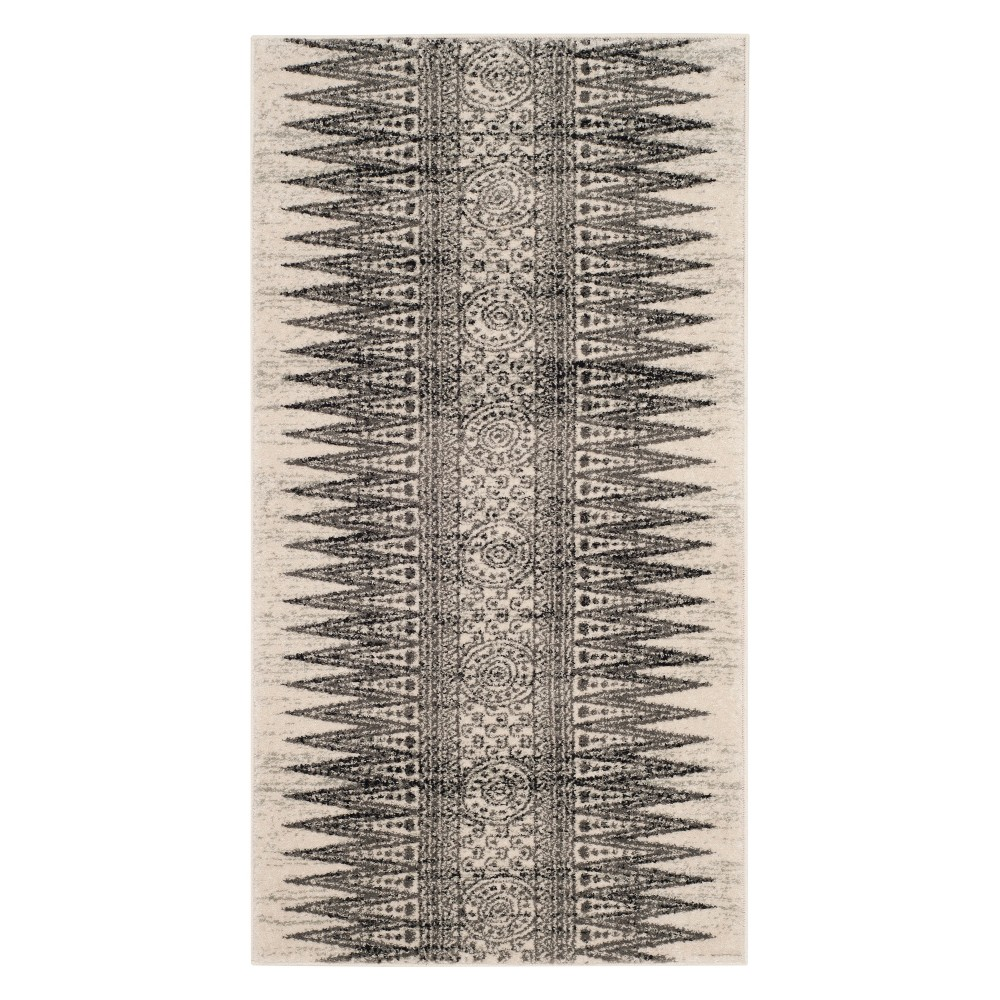 22X4 Geometric Design Loomed Accent Rug Ivory/Gray - Safavieh Coupons