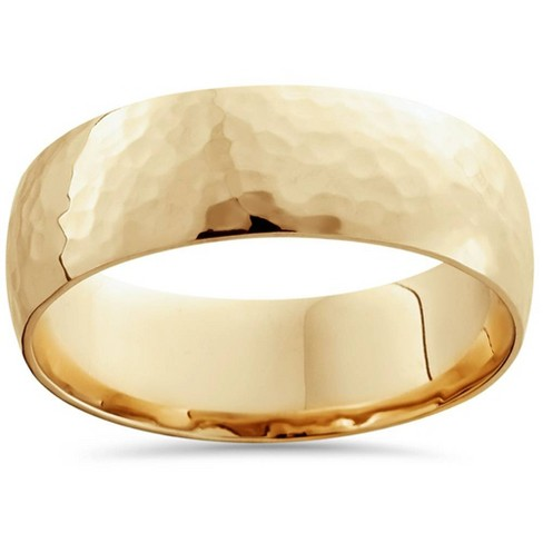Pompeii3 7mm 14K Yellow Gold High Polished Hammered Mens Wedding Band - image 1 of 3
